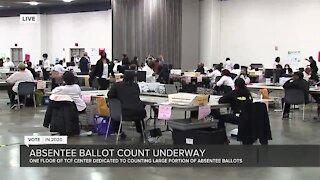 Absentee ballot count underway at Detroit's TCF Center
