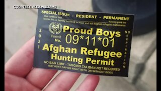 'Afghan Refugee Hunting Permits' found on the University of Michigan's Ann Arbor campus