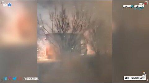 Angry neighbor flips huge firework box turning the whole nabe into a warzone