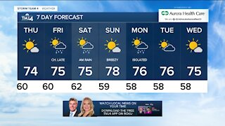 Thursday is sunny with highs in the 70s