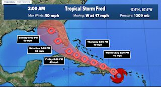 Tracking Tropical Storm Fred: Wednesday 5 a.m.