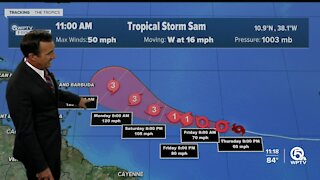 Tropical Storm Sam forms with 50 mph winds
