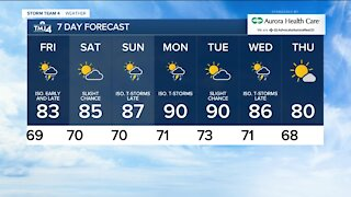 Chance for showers late Thursday night, temps in the 70s
