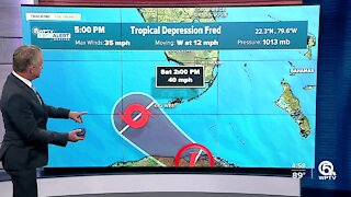 Fred shifts farther west, while Tropical Depression Seven forms