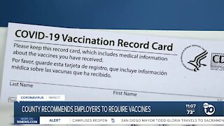County recommends employers to require vaccines
