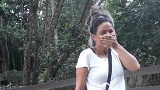 Monkey tries to eat tourist's hair