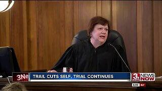Trail cuts self, trial continues