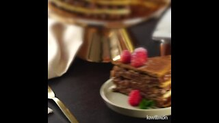 Chocolate cake with puff pastry