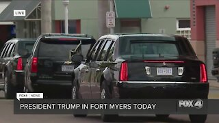 President Trump arrives at the Caloosa Sound Convention Center