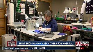 Shirt shop making mask covers for hospital