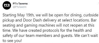 PT's Las Vegas opening some locations next week