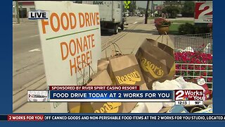 Food drive today at 2 Works for You