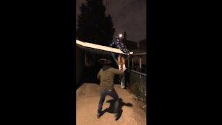 Man Falls Through Roof