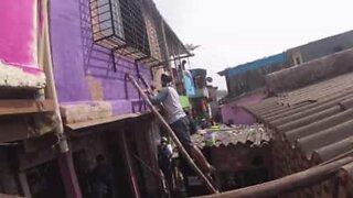 Una favela di Mumbai prende vita con pitture colorate