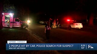 Two people hit by car, police search for suspect