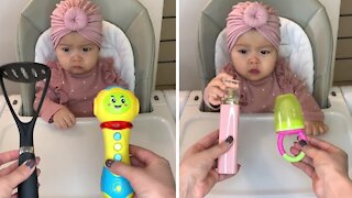 Baby girl prefers household items to toys every single time