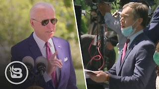 Biden STUNNED When Reporter Confronts Him on Wearing Mask Outdoors While He's Vaccinated