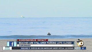 Coronado beaches still open, some parking lots closed