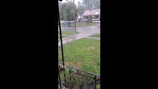 Hail falls in Akron's Goodyear Heights neighborhood