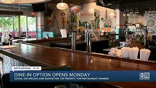 Dine-in options open in Arizona Monday