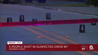 5 people shot in suspected drive-by in Palm Beach County