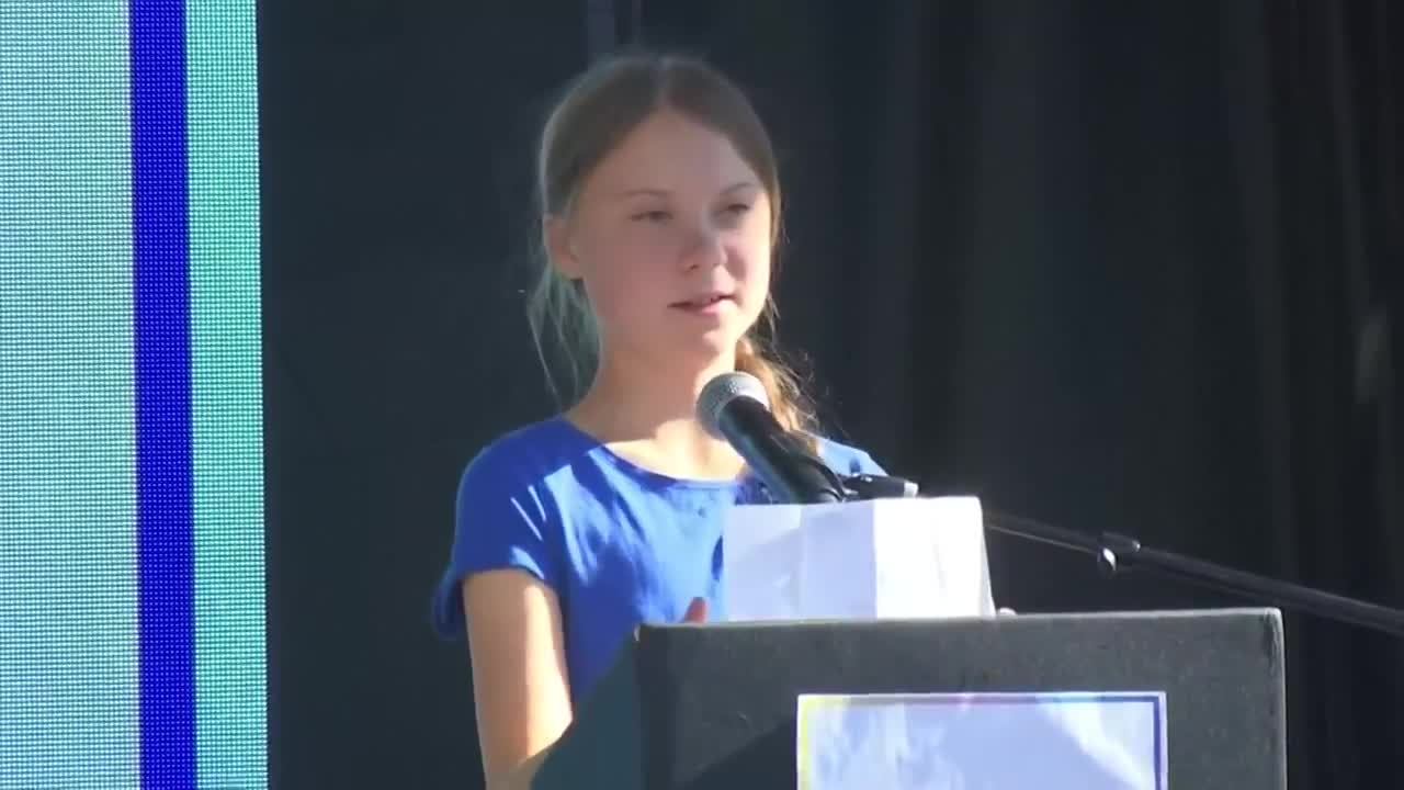 Greta Thunberg call to fight global warming cheers LA rally