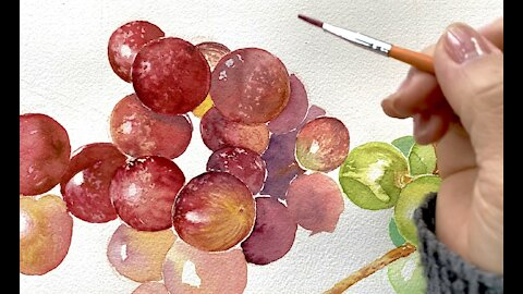 Easy Grapes Painting in watercolor