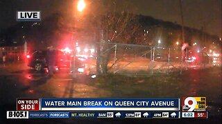 Water main break on Queen City Ave