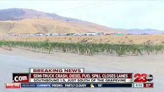 Crash causes lane closures, diesel fuel spill on southbound I-5