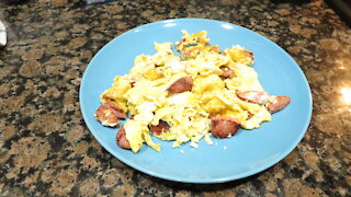 Making Eggs and Sausage for Breakfast!