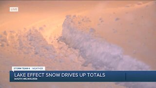 Lake effect snow drives up totals on lakeshore