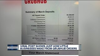 Viral post shows how little businesses make from Grubhub orders