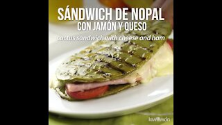 Nopal sandwich with ham and cheese