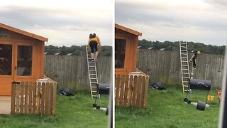HILARIOUS MOMENT MAN CLIMBING LADDER FALLS THROUGH FENCE PANEL