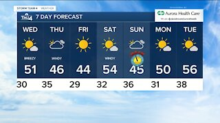 Wednesday is sunny with highs near 50