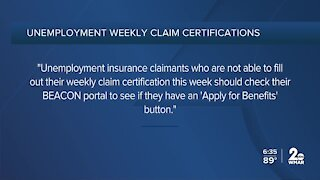 Unemployment insurance claimants experiencing issues filing weekly claim