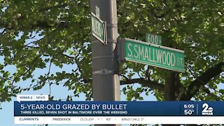 5-year-old grazed by bullet; violent weekend