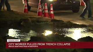Eastpointe worker critically injured after trench collapse from water main break