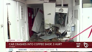3 hurt after vehicle crashes into coffee shop