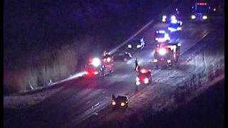 I-480 westbound closed before Route 91 because of a two-car crash