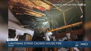 Lightning strike causes house fire