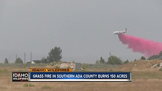 Crews battle grass fire south of Boise