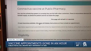 COVID-19 vaccine appointments at Publix fill up quickly Friday morning