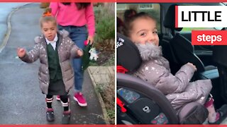 Girl with cerebral palsy makes her first independent journey to the car