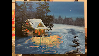 Landscape Painting Time-lapse: Christmas Cabin by the Lake