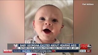 Baby experiences sound for the first time