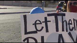 Student athletes protesting outside Clark County School District, schools