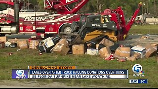 Truck hauling donations for Venezuela crashes on the Turnpike in Palm Beach County