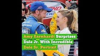 Amy Earnhardt Surprises Dale Jr. With Incredible Dale Sr. Portrait