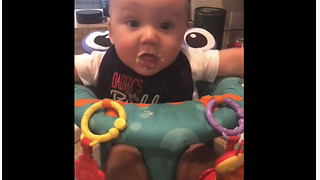Baby boy gets super excited to eat